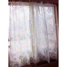 【チャイハネ】オパール加工 フェアリーフェザーカーテン178cm ホワイト×グリーン