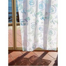 【チャイハネ】オパール加工 フェアリーフェザーカーテン178cm ホワイト×ブルー