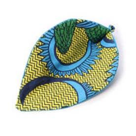【チャイハネ】アフリカン★キテンゲ柄リーフコースター イエロー×グリーン
