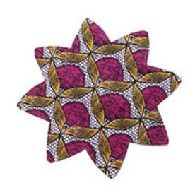 【チャイハネ】アフリカン★キテンゲ柄フラワープレイスマット ホワイト×ピンク