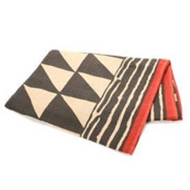 【チャイハネ】アフリカンボゴラン柄ベッドカバー セミダブルサイズ ブラック