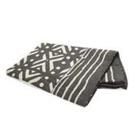 【チャイハネ】アフリカンボゴラン柄ベッドカバー セミダブルサイズ グレー