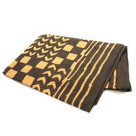【チャイハネ】アフリカンボゴラン柄ベッドカバー セミダブルサイズ ブラウン
