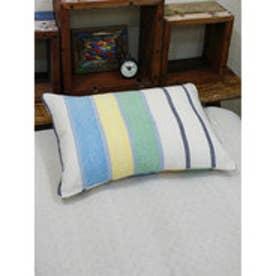【チャイハネ】ムンバイストライプ枕カバー ブルー