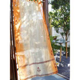 【チャイハネ】象プリントカーテン178cm オレンジ
