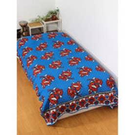 【チャイハネ】アフリカン・カンガ柄ベッドカバー シングルサイズ ターコイズブルー