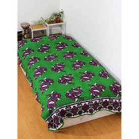 【チャイハネ】アフリカン・カンガ柄ベッドカバー シングルサイズ グリーン