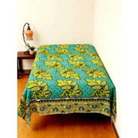 【チャイハネ】アフリカン・カンガ柄ベッドカバー シングルサイズ ライム