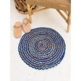 【チャイハネ】クルリンラウンドラグマット直径約55cm ブルー