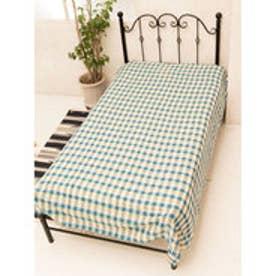 【チャイハネ】ブロックチェック織りベッドカバー シングルサイズ ブルー
