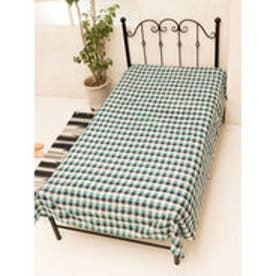 【チャイハネ】ブロックチェック織りベッドカバー シングルサイズ ネイビー