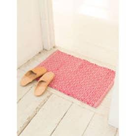 【チャイハネ】ジオメ柄ラグマット 約38×55cm ピンク