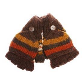 【チャイハネ】ネパール手編みカバー付きボーダーグローブ ブラウン