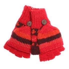 【チャイハネ】ネパール手編みカバー付きボーダーグローブ レッド