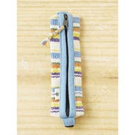 【チャイハネ】ダイアリーペンケース ボーダー Made in NEPAL ホワイト系その他