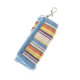 【チャイハネ】ボーダー織りキーケース ホワイト×ブルー