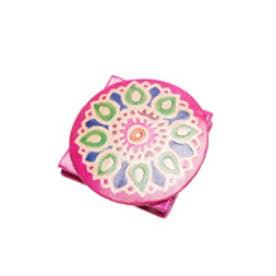 【チャイハネ】インド山羊革フラワーコインパース ピンク