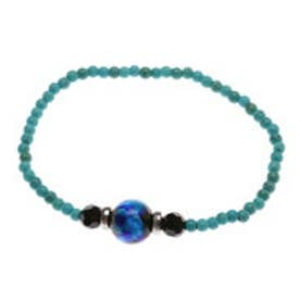 【チャイハネ】深海ブルー ほたる玉ひと粒ブレスレット ターコイズブルー