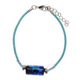 【チャイハネ】深海ブルー 樽型ほたる玉ブレスレット ターコイズブルー
