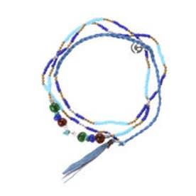 【チャイハネ】いろいろ使える♪ハッピーブレスレット&ネックレス WAYアクセサリー ブルー