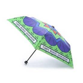 【チャイハネ】アフリカン★カンガ柄 折りたたみ傘 グリーン