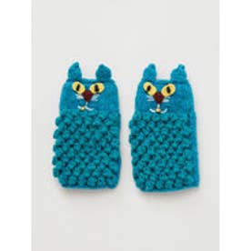 【チャイハネ】ニャングローブ もこもこ猫手袋 ターコイズブルー