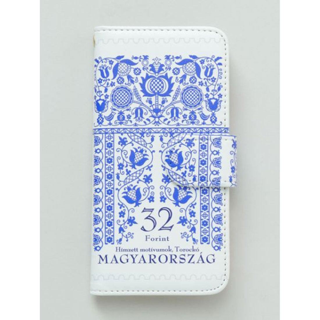 【欧州航路】iPhone8/7兼用 手帳型ケース ハンガリー切手 ブルー