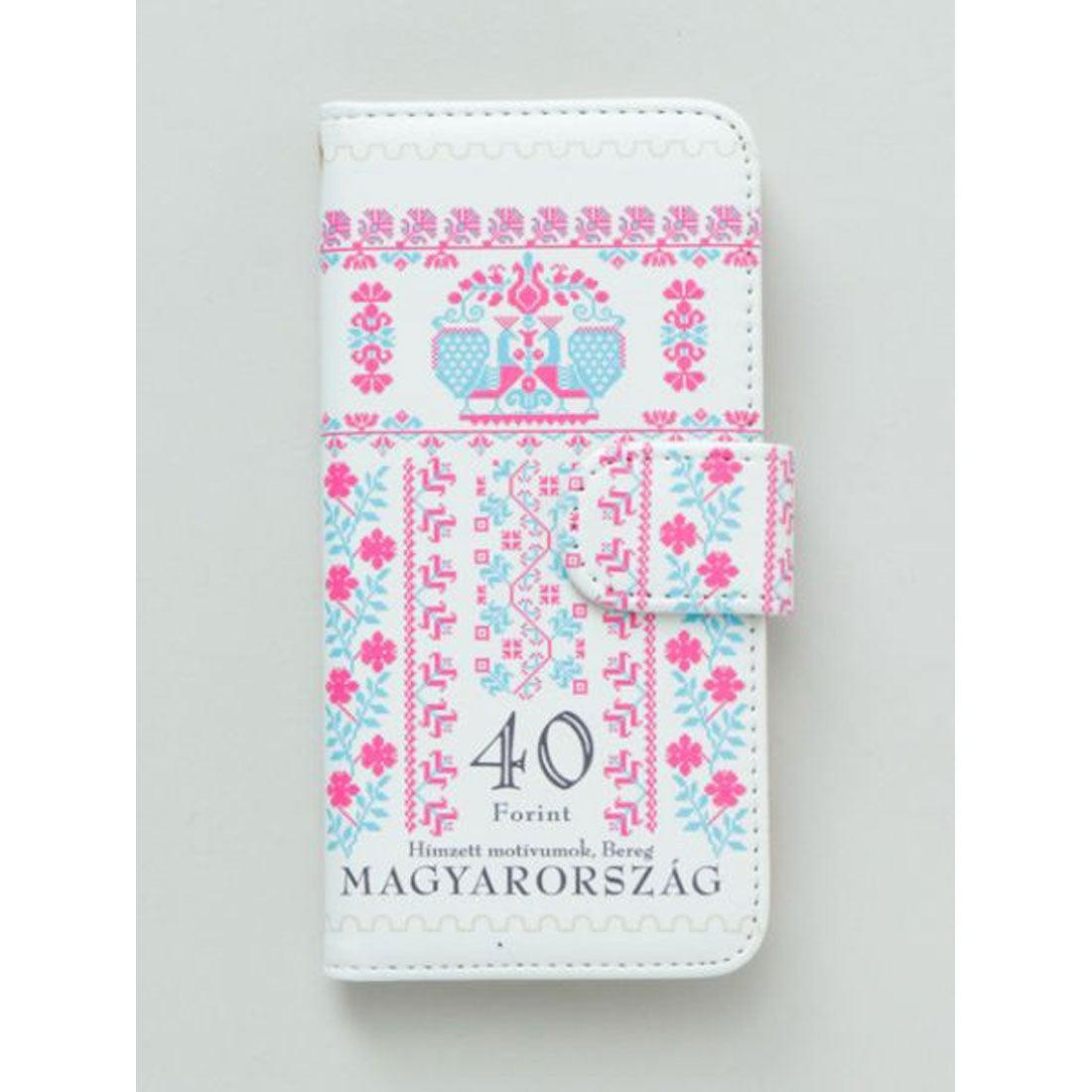 【欧州航路】iPhone8/7兼用 手帳型ケース ハンガリー切手 ピンク