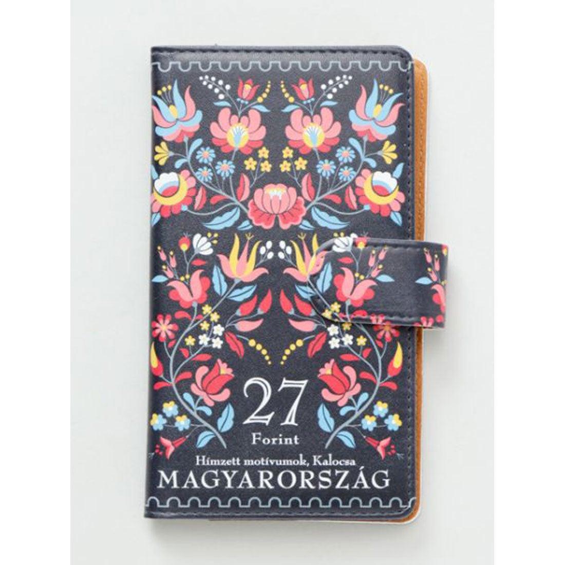 【欧州航路】多機種対応 手帳型スマートフォンケースLサイズ ハンガリー切手 ブラック