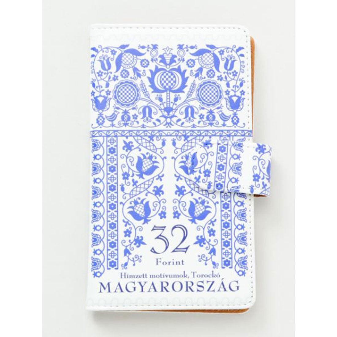【欧州航路】多機種対応 手帳型スマートフォンケースLサイズ ハンガリー切手 ブルー