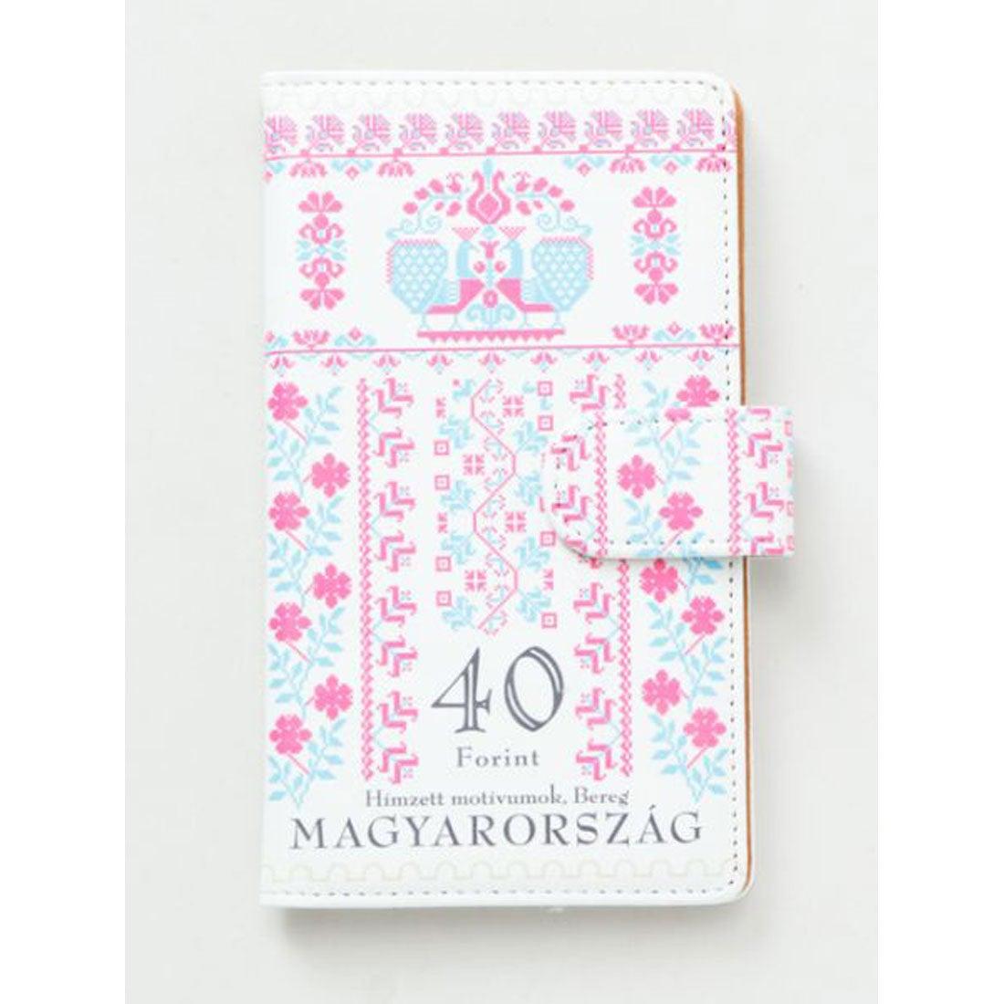 【欧州航路】多機種対応 手帳型スマートフォンケースLサイズ ハンガリー切手 ピンク