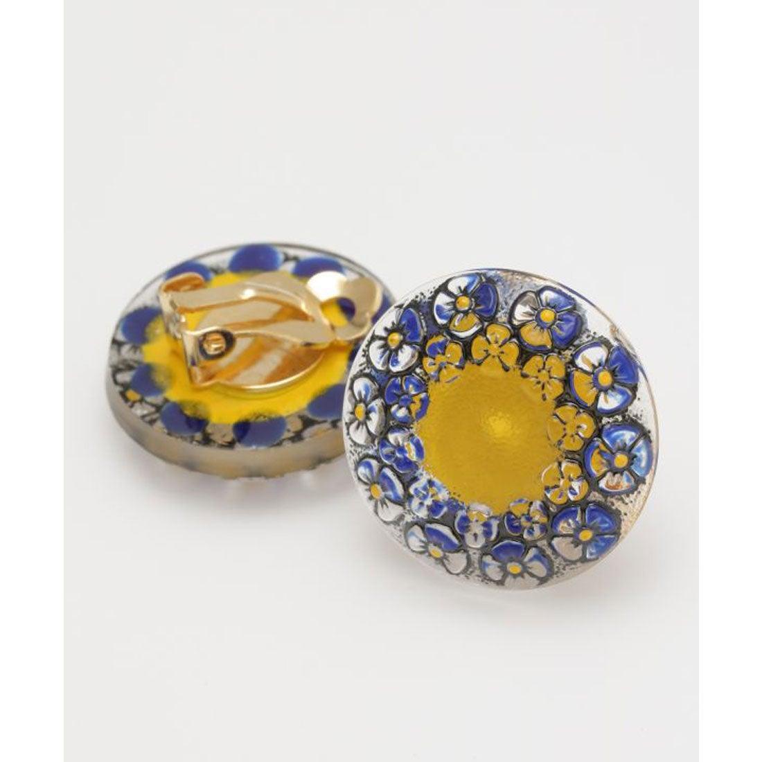 【欧州航路】チェコガラスボタンイヤリング ブルー