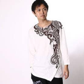 チャイハネ チャイハネ トライバル柄七分袖メンズTシャツ (ホワイト)