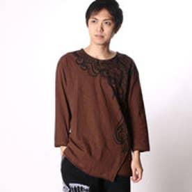 チャイハネ チャイハネ トライバル柄七分袖メンズTシャツ (ブラウン)