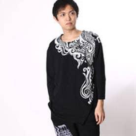 【チャイハネ】トライバル柄七分袖メンズTシャツ ブラック