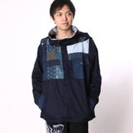 【チャイハネ】デニムパッチワークMEN'Sマウンテンパーカー / ジャケット ネイビー
