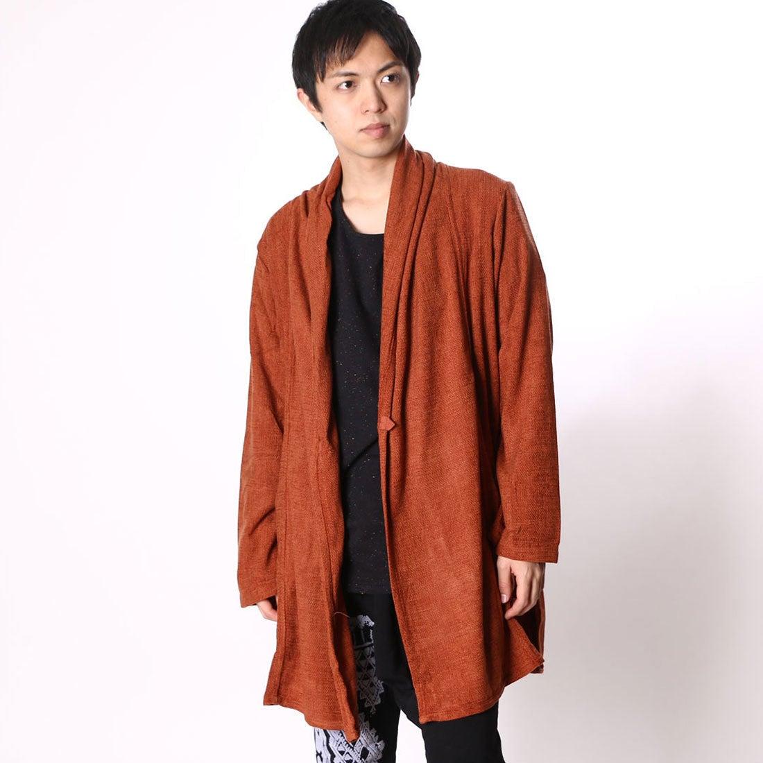 【チャイハネ】モールヤーンMEN'Sカーディガン オレンジ