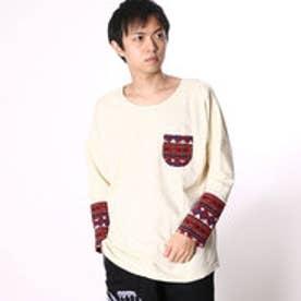 【チャイハネ】ジャガードニットパッチワークトップス / メンズポケットTシャツ ホワイト