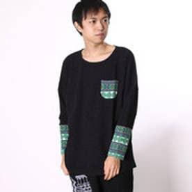 ◆【チャイハネ】ジャガードニットパッチワークトップス / メンズポケットTシャツ ブラック