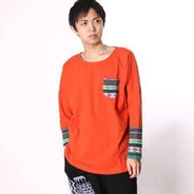 ◆【チャイハネ】ジャガードニットパッチワークトップス / メンズポケットTシャツ オレンジ