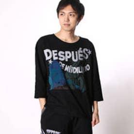 チャイハネ チャイハネ メキシカンプリントメンズTシャツ 七分袖 (ブラック)
