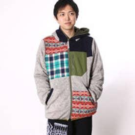 ◆【チャイハネ】チェックパッチワークMEN'Sパーカー / フードジャケット グレー