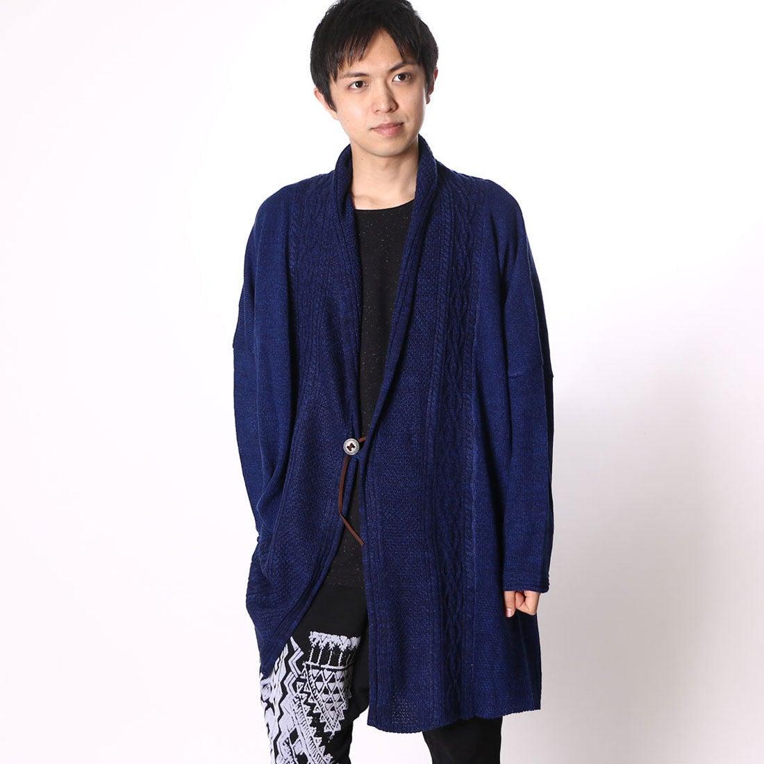 【チャイハネ】yul ミックスヤーンニットカーディガン(ユニセックス) ブルー