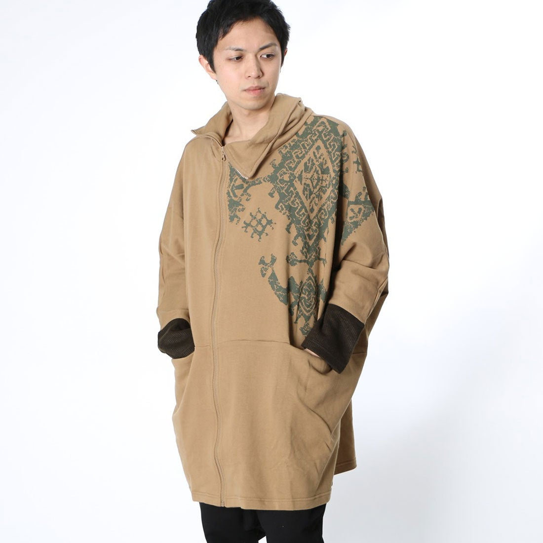 【チャイハネ】リブラスMEN'Sジャケット/カーディガンキャメル