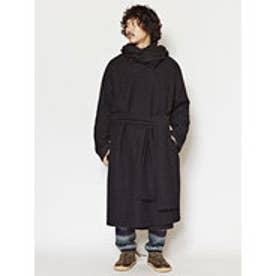 【チャイハネ】ウール100%縮絨ニットコート チベタンマント ブラック
