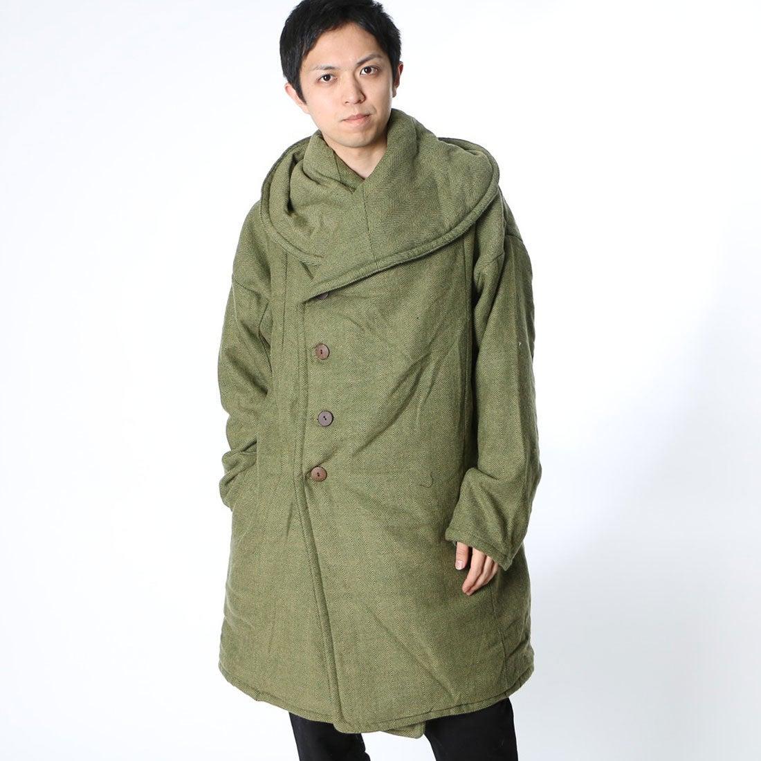 【チャイハネ】刺繍入りツイードMEN'Sコートカーキ