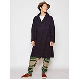 【チャイハネ】ディープカラーグラデーションコーディガン / ウール混MEN'Sコート ブラック