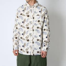 【チャイハネ】綿麻フラワープリントMEN'Sシャツ ホワイト