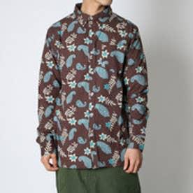 【チャイハネ】綿麻フラワープリントMEN'Sシャツ ブラウン