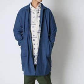 【チャイハネ】刺繍入りMEN'Sステンカラーコート ブルー